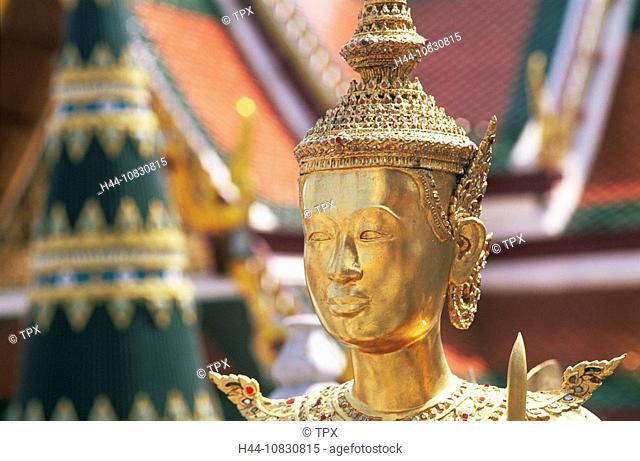 Thailand, Asia, Bangkok, Wat Phra Kaeo, Wat Phra Kaew, Grand Palace, Temple, Emerald Buddha, Golden, Statue, Statues