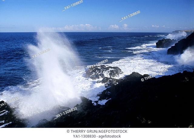 Le Souffleur, Pointe du Portail, South of Saint Leu, La Reunion island (France), Indian Ocean