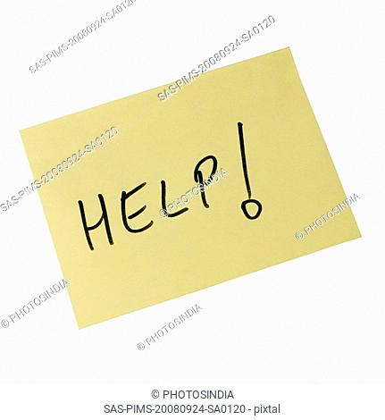 Help text written on an adhesive note