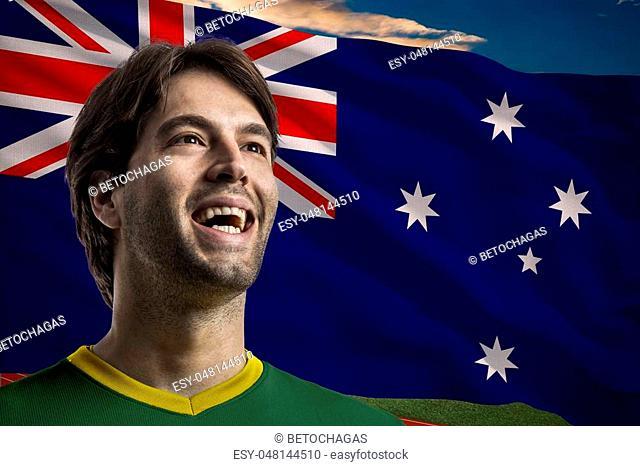 Australian Athlete Winning a golden medal in front of a Australian flag