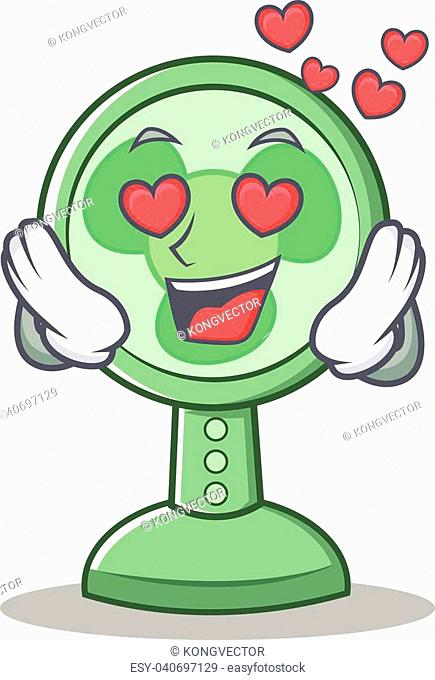 In love fan character cartoon style vector illustration