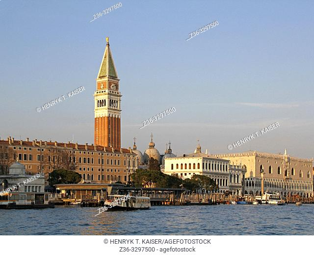 View on Bell Tower and Doge Palace from Grand Canal, Venice, Italy