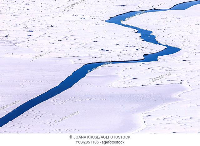 a crack in the ice of the ice sheets at the Icefjord, Ilulissat, Greenland