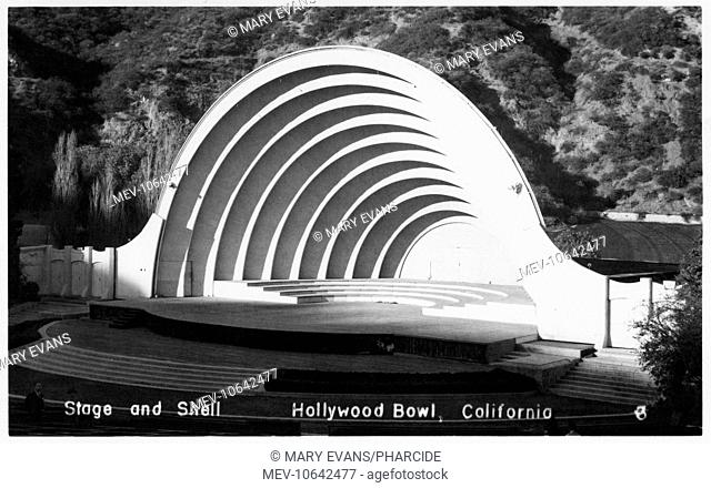 The stage and distinctive shell covering at The Hollywood Bowl, Los Angeles, California, USA