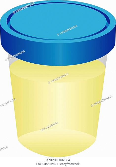 A container with urine for analysis. Vector illustration