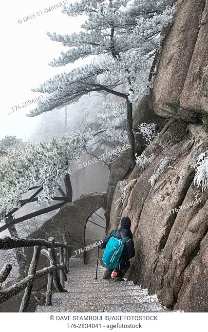 Winter wonderland, hiking in Huangshan National Park, Anhui, China