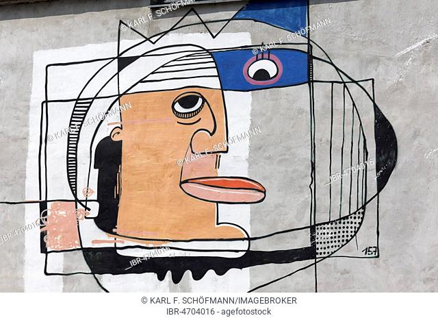 Face, cubistic, graffiti, street art, Leipzig-Lindenau, Saxony, Germany