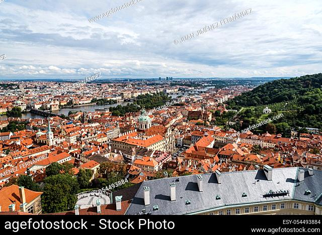 Cityscape of Prague from tower of Cathedral against sky