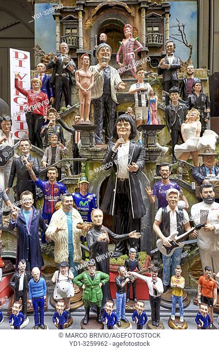 Naples Campania Italy. Statues figurines of the Christmas Nativity Scene in the artisan workshops of Via San Gregorio Armeno
