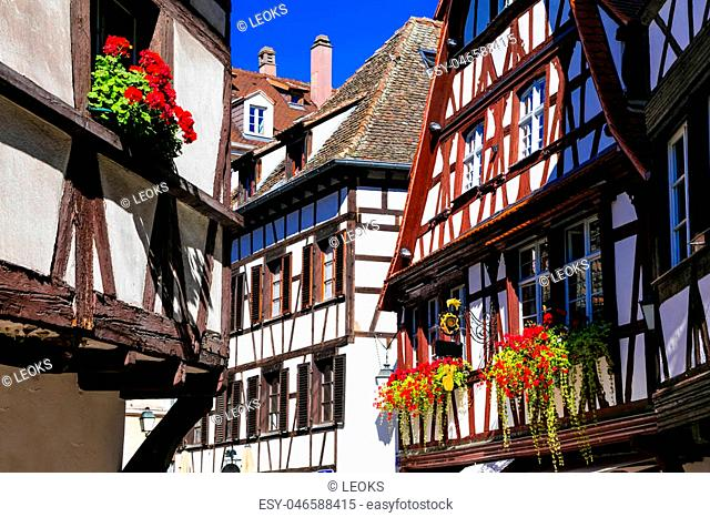 Impressive multicolored houses of Strasbourg,France
