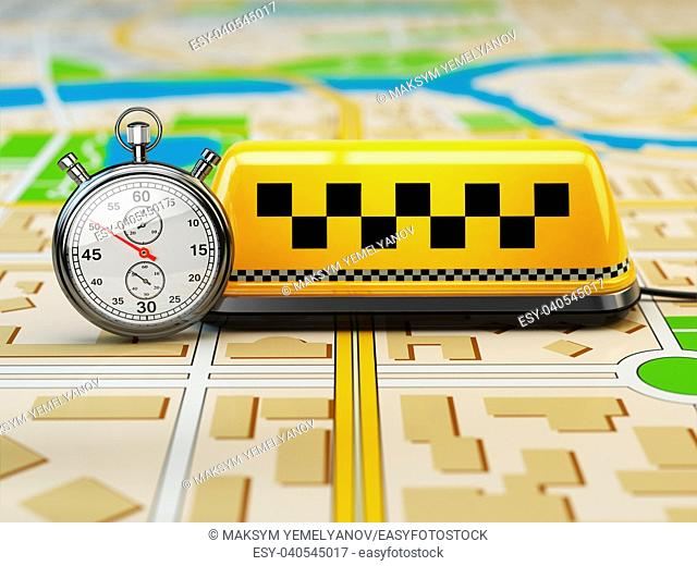Taxi sign on the city map with stopwatch. Concept of taxi online service. 3d