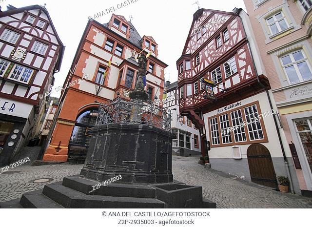 The historical market square in Bernkastel-Kues town in Rhineland-Palatinate region of Germany