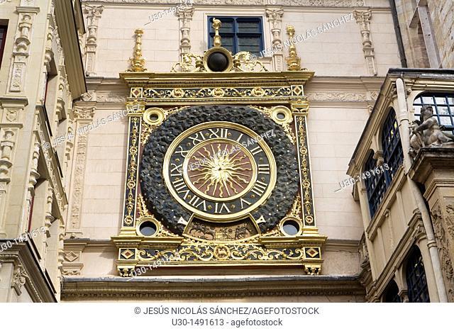 Gros Horloge XIV century a medieval clock sited in Rue du Gros Horloge, in Rouen, Seine-Maritime department, Upper Normandy, France