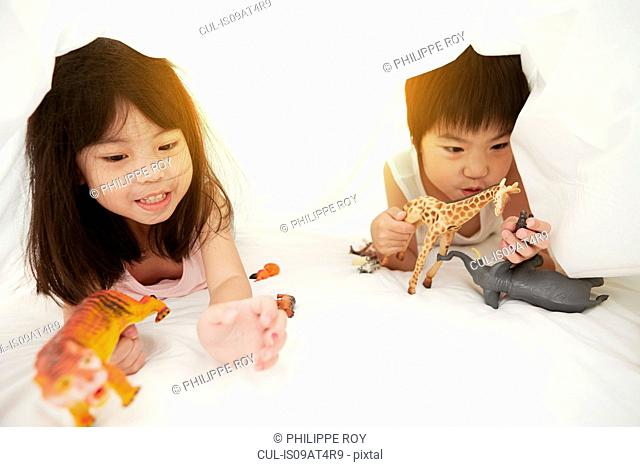 Young Chinese boy and girl in bed playing with their toys under the bedsheets