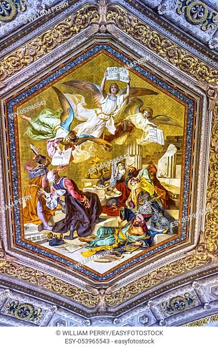Vatican Museum Ceiling Thomas Aquinas Angels Summa Theologica Fresco Rome Italy