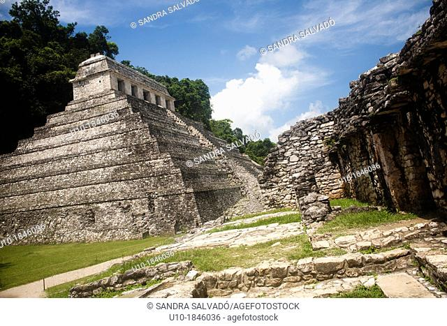 Temple of the Inscriptions, Temple XIII, Palenque Archaeological Site, Chiapas, Mexico