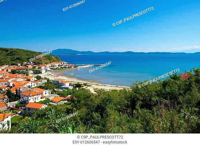 Panoramic view of beautiful bay and small town Susak on the Susak Island, Croatia