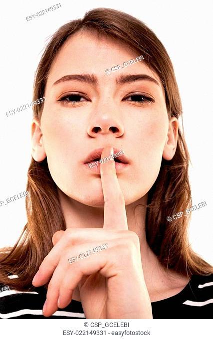 Shhhhh Woman! Finger On Lips. Silent - Silence Stock Ima