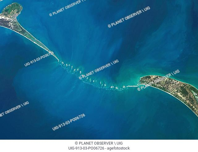 Satellite view of Adam's Bridge. This chain of limestone shoals connects Sri Lanka to India. This image was taken in 2014 by Landsat 8 satellite