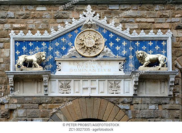 Florence, Tuscany, Italy - September 16, 2017: Portal at the entrance at the Palazzo Vecchio on the Piazza della Signoria im historic center of Florence - Italy