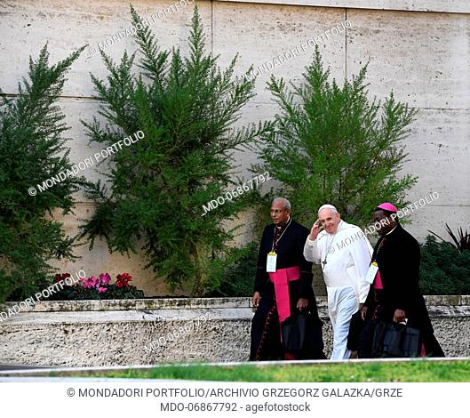 "Pope Francis arrives to the New Synod Hall in Vatican City for the meeting """"The Protection of Minors in the Church"""". Vatican City, February 21th, 2019"