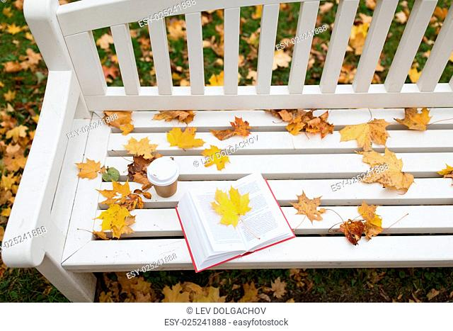 season, education and literature concept - open book and coffee cup on bench in autumn park