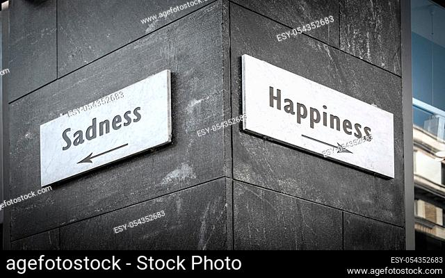 Street Sign the Direction Way to Happiness versus Sadness