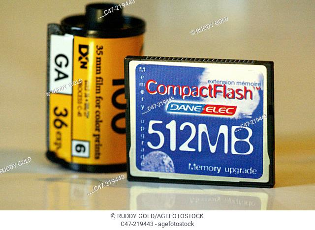 Spool of film and flash card for digital camera