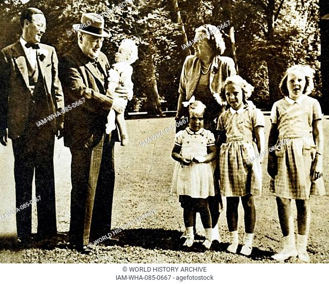 Photograph of Princess Juliana of the Netherlands (1909-2004), Sir Winston Churchill (1874-1965) and Prince Bernhard of Lippe-Biesterfeld (1911-2004) with their...