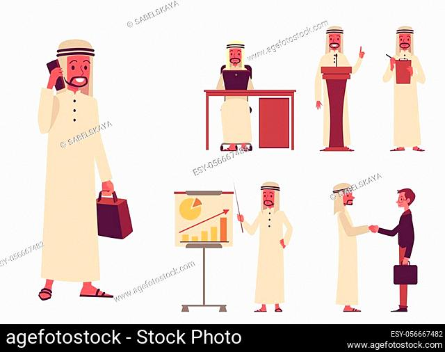Set of male Arab oriental characters of businessmen with a phone and laptop, presentation, negotiations and business partnership
