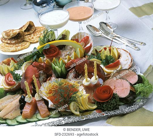 Fish and lobster platter with dips for Christmas (1)