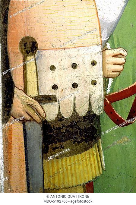 Sylvester Closing the Jaws of a Dragon and Resuscitating two Wizards (San Silvestro chiude le fauci a un drago e resuscita due maghi), by Maso di Banco, 1340