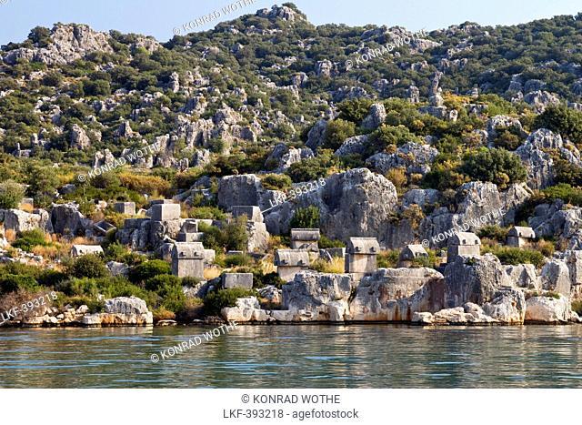 Necropolis with stone sarcophagus near Kas, lycian coast, Lycia, Mediterranean Sea, Turkey, Asia