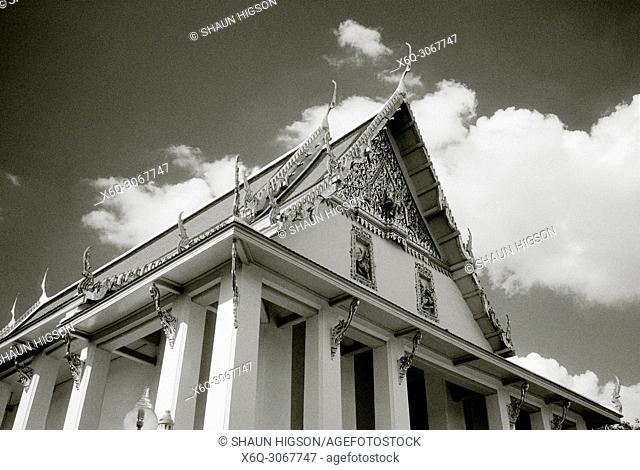 The ubosot of Buddhist temple Wat Hong Rattanaram in Bangkok in Thailand in Southeast Asia Far East