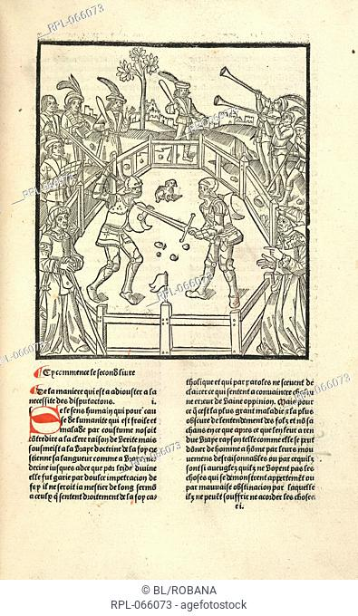 Combat, A duel in the lists. Image taken from De Civitate Dei. Translated with a commentary by Raoul de Presles. With woodcuts. G.L