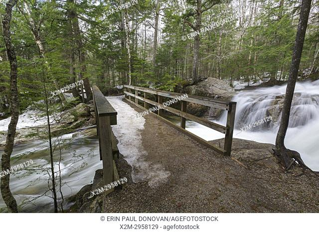 """The Pemigewasset River, just above the â. œThe Basin"""""""" viewing area, in Franconia Notch State Park of Lincoln, New Hampshire USA during the spring months"""
