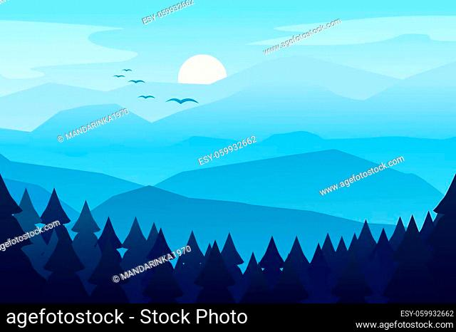 Mountain landscape with mountain. Morning landscape, sunrise in the mountains, panoramic view with hill and forest. Vector illustration