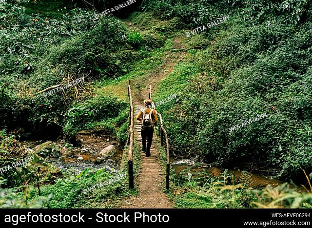 Rear view of man hiking on a remote trail on Sao Miguel Island, Azores, Portugal