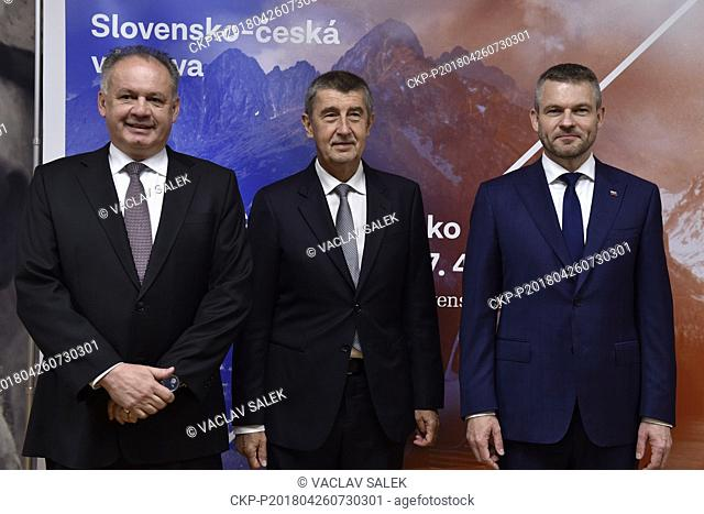 Slovak President Andrej Kiska (left) and Slovak and Czech PMs, Peter Pellegrini (right) and Andrej Babis (center), attend opening of Czech-Slovak exhibition on...