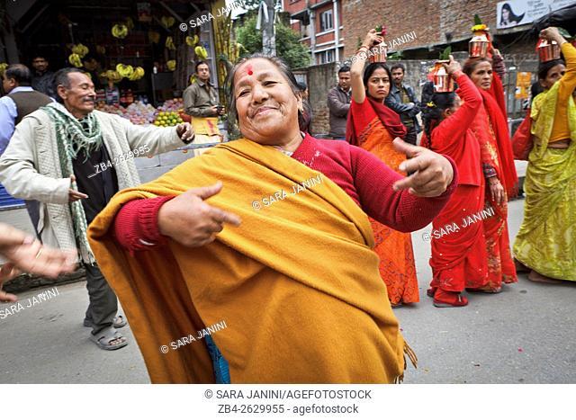 Pilgrims in a festival, Kathmandu, Nepal, Asia