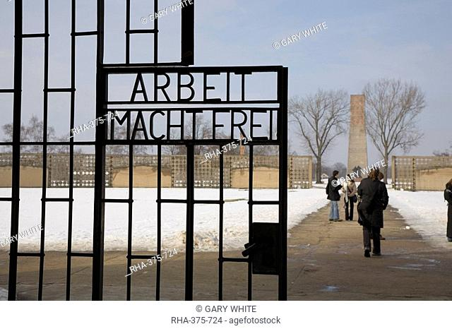 Main entrance, Gedenkstatte Sachsenhausen concentration camp memorial, East Berlin, Germany, Europe