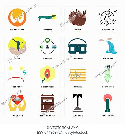 Set Of 16 simple editable icons such as penetration, concierge, electric meter, car dealer, cost uction, folded hands, hiker, vr headset can be used for mobile