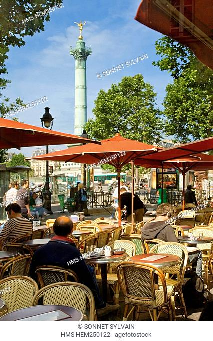 France, Paris 75, Bastille District, cafe terrace on Place de la Bastille