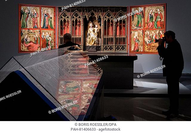 Altenberger Altar is reflected in the plexiglass of a display case in the Staedel Museum in Frankfurt am Main, Germany, 21 June 2016