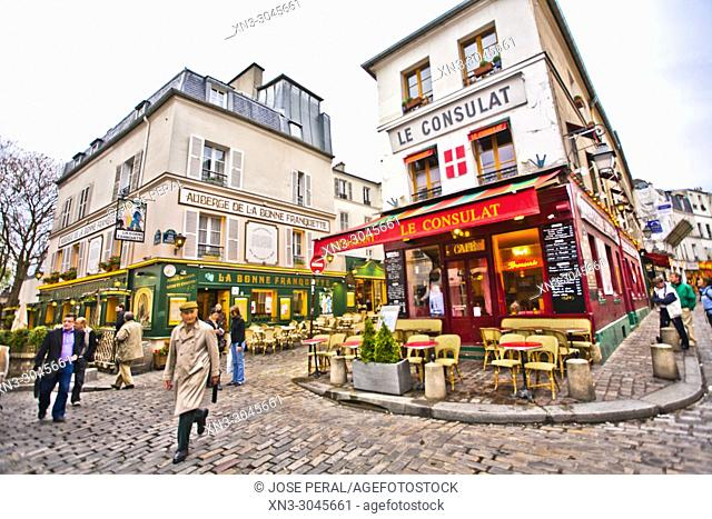 Le Consulat Restaurant, Rue Norvins, Rue des Saules, Montmartre, 18th arrondissement, Paris, France, Europe