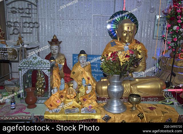Myanmar: Bagan- Mount Popa- Some of the Buddhas in one of the four temples on Mount Popa