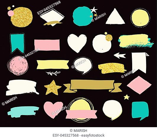 Fashion patch badges and stickers, labes and sale tags. Gold hearts, speech bubbles, stars and other elements. Vector element, backgrounds