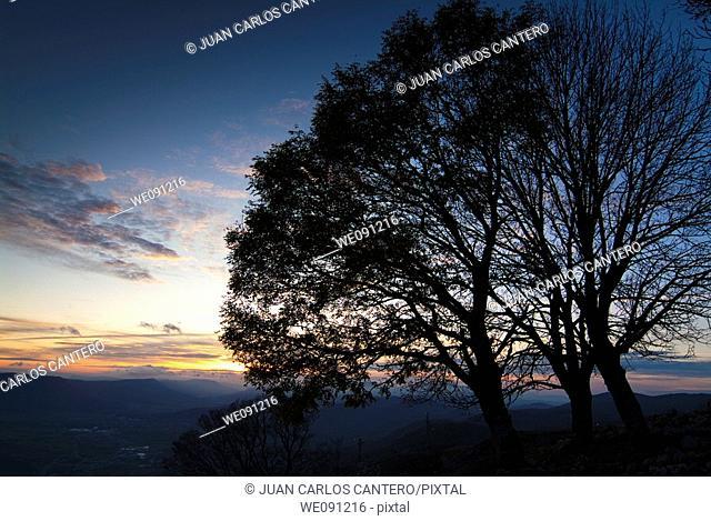 Sunset view from the Sanctuary of San Miguel de Aralar. Navarra. Spain