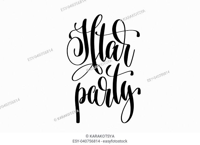 Iftar party hand lettering event invitation inscription, black and white calligraphy vector illustration