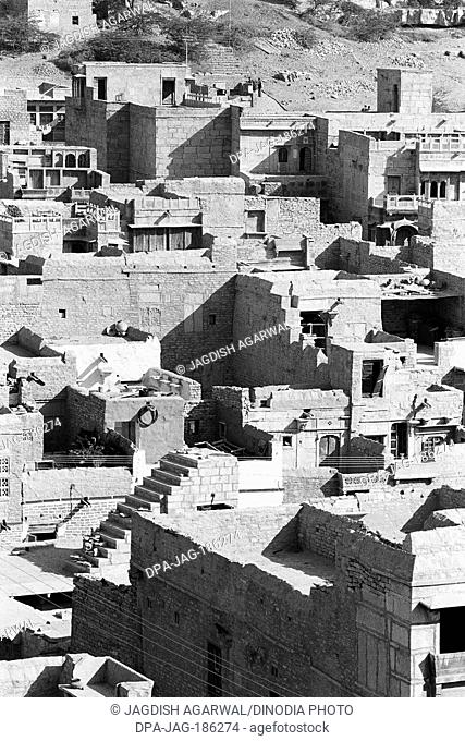 Roof tops of houses Jaisalmer Rajasthan India Asia 1984